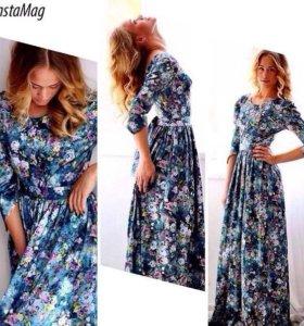 Платье изумрудное из ткани атласный хлопок