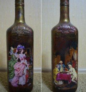 Бутылка в стиле декупаж