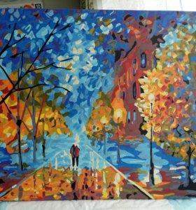 Картина красками ручной работы