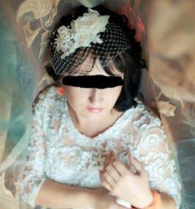 Вуалетка-украшение для свадебной прически