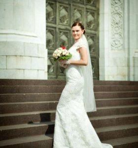 Свадебное платье (перчатки и фата в подарок!!!)