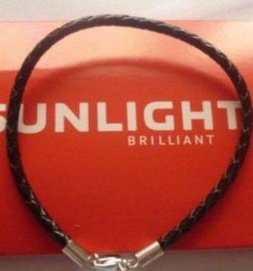 Кожаный браслет с серебряной застежкой Sunlight