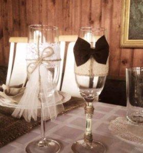 Свадебные бокалы в стиле кантри/рустик