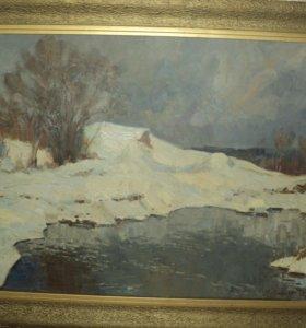 """Картина """"первый снег"""" 1968 года Семёнов а.н."""