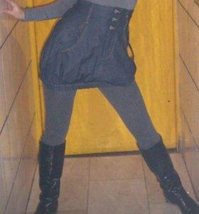 Юбка джинсовая с завышенной талии