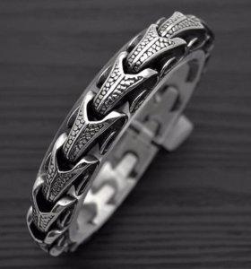 Мужской стальной браслет на руку Змея