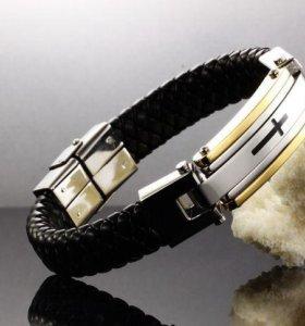 Мужской плетеный браслет натуральная кожа на руку