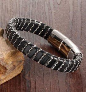 Унисекс браслет из стали и натуральной кожи цепь