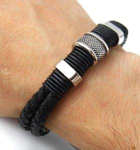 Мужской кожаный браслет на руку натуральная кожа