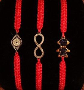 Плетенные браслеты красная нить