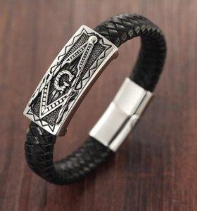 Мужской кожаный браслет Масон на руку плетеный