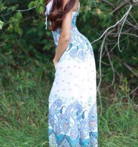 Платье в пол летнее с открытой спиной