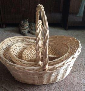 Наборы плетёных корзин
