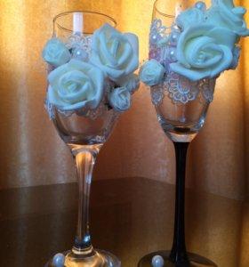 Свадебные бокалы своими руками, продается парой.