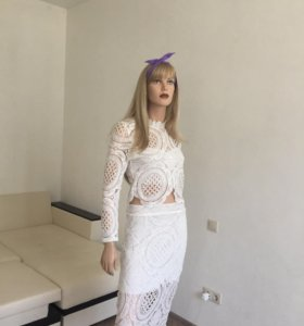 Костюм юбка+блузка кружевной, новый