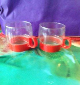 Чашки 2 шт стеклянныечашки