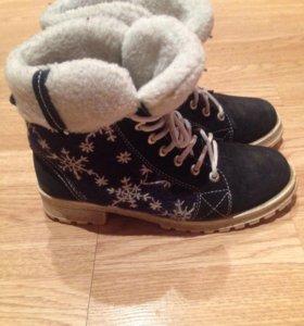 Ботинки зимние велюр, овчина
