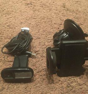 Камера Logitech и держатель в автомобиль