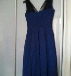 Платье шифон синее