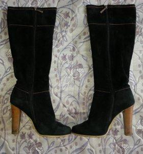 Сапоги обувь зимние женские замшевые.