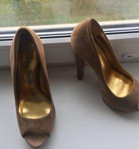 Туфли, бежевые, замша, 37