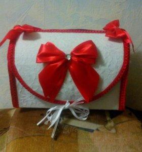 Свадебный сундук для денег + подушка для колец