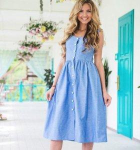 Платье голубое без рукавов 42-44