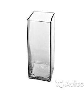 Ваза стеклянная прямоугольная 8х8х16 (3шт)