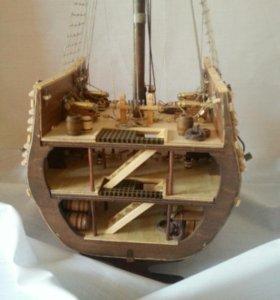 Модель галеона San Giovanni Batista в разрезе