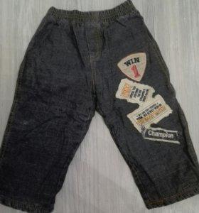 Теплые джинсовые штанишки