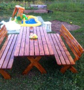 Садовый комплект ( стол и две скамейки