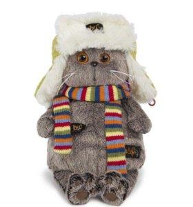 Кот Басик в ушанке и шарфе, новая мягкая игрушка