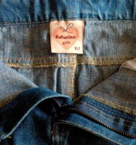 Юбка джинсовая со стразами