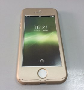 Чехол + защитное стекло для iPhone 5/5S/SE золото