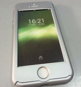 Чехол + защитное стекло для iPhone 5/5S/SE серебро