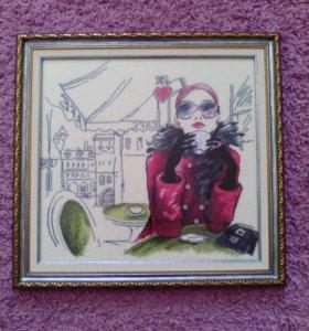 Картина Парижанка (вышивка крестом)