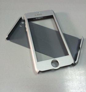 Чехол + защитное стекло для iPhone 5/5A/SE серебро