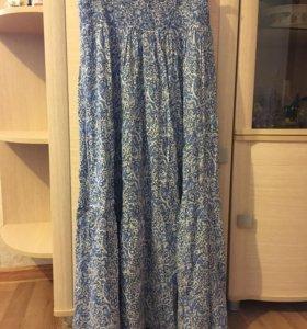 Длинная голубая юбка Ostin
