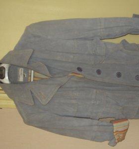 Голубая замшевая куртка