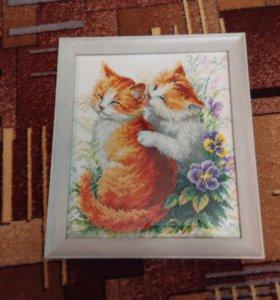 Вышивка крестом коты