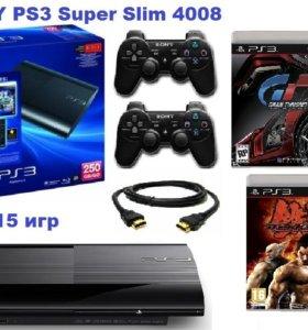 Sony PS3 SuperSlim 2джой.20игр2диска