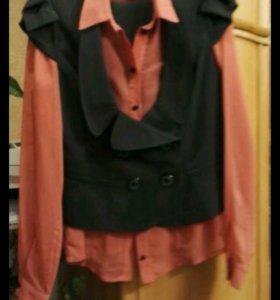 Костюм тройка: блузка, жилетка, юбка. Размер 48