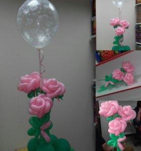 Фигуры из шаров, букеты,  украшение помещения