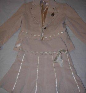 Disney, вельветовый костюм (пиджак/юбка)120-130см