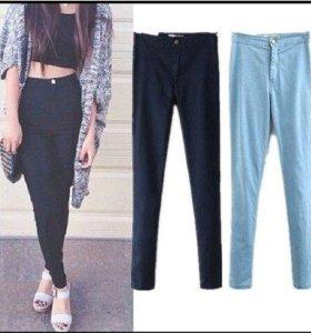 Черные джеггинсы лосины джинсы