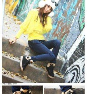 Новые ботинки на шнуровке внутри мех зима осень