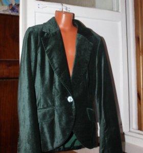 Темно зелёный бархатный пиджак H&M