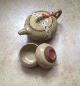 Чайный набор из исинской глины чайник+2 пиала