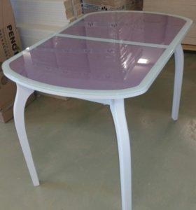 Стеклянный стол с эко кожей