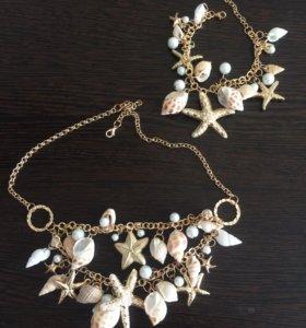 Комплект браслет + колье бижутерия